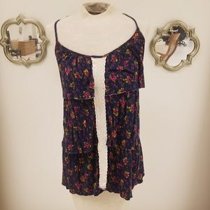 h.i.p. Floral Print Tank Top with Knitted Detail